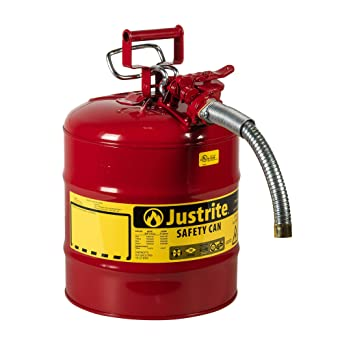 """Justrite 5 Gallon Red AccuFlow Galvanized Steel Type II Vented Safety Can With Stainless Steel Flame Arrester And 1"""" Metal Hose (For Flammable Liquids): image"""