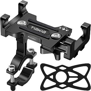 Tiakia Universele telefoonhouder voor op de fiets, van aluminiumlegering, 360 graden draaibaar, voor smartphones van 4,7-...