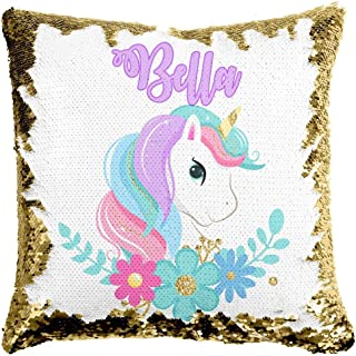 Custom Unicorn Reversible Sequin Pillow, Personalized Gifts for Girls, Mermaid Pillow, Kids Throw Pillow, Unicorn Decor, 6 Designs to Choose from, Crafted and Shipped from The USA! (Gold/White)
