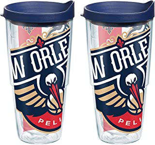 Tervis NBA New Orleans Pelicans Colossal Tumbler with Wrap and Navy Lid 2 Pack 24oz, Clear