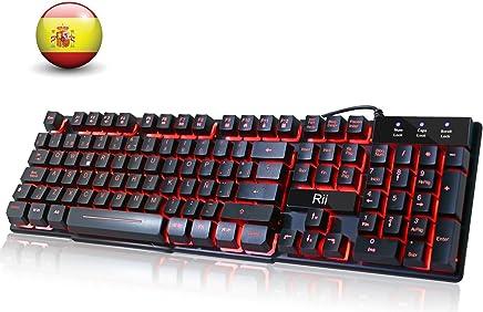 Rii RK100 Teclado Gaming,Teclado de Membrana con sensibilidad mecánica,USB LED Retroiluminado Ideal para Jugar, Trabajos de Oficina