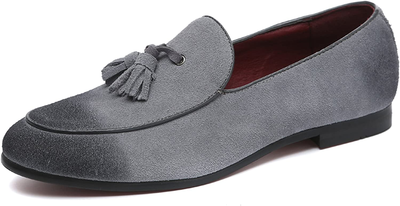 Beauty products Santimon Mens Slip List price On Loafers Nubuck Pointed Tassele Leather Toe
