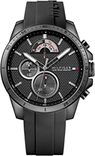 Tommy Hilfiger Men's Black Dial Rubber Band Watch - 1791352