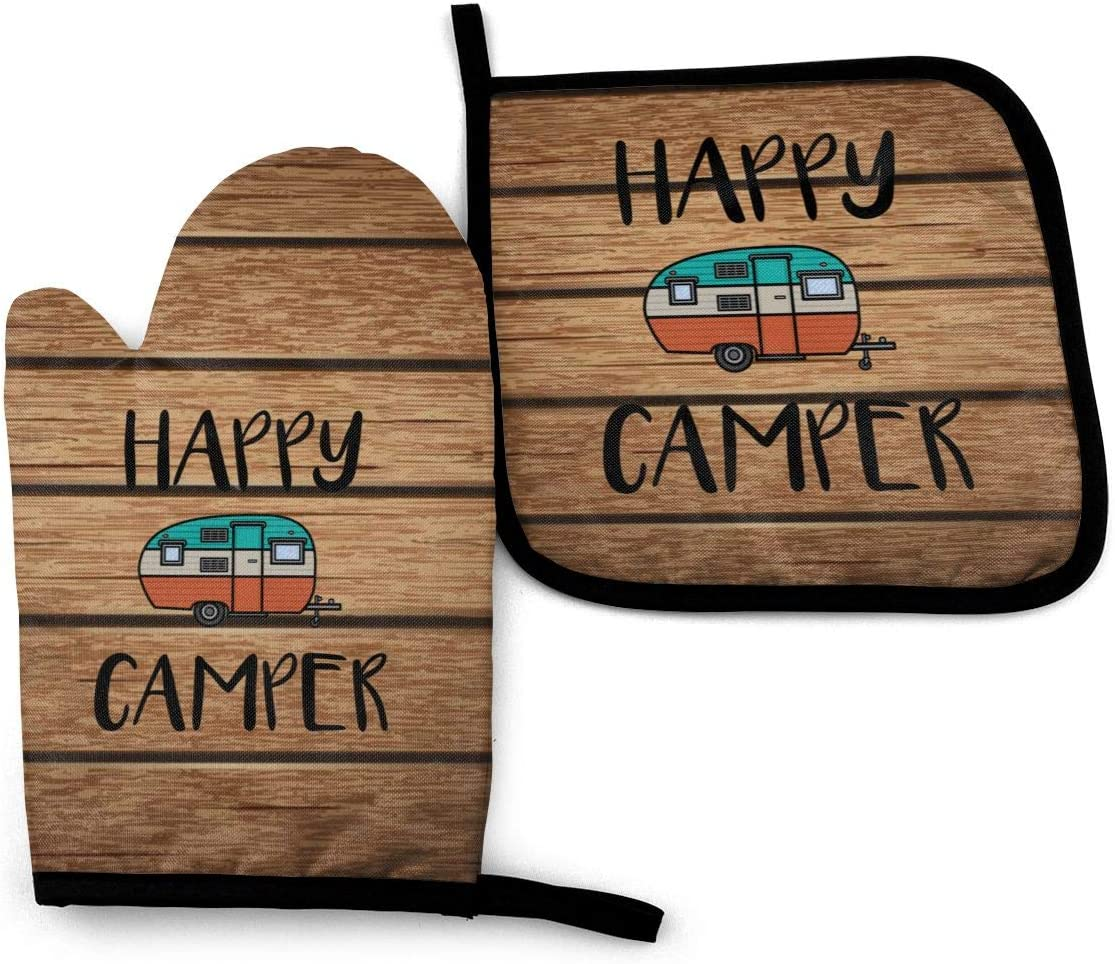 Max 48% OFF MSGUIDE Happy Camper Special Campaign Oven Mitt and Holder Ove Heat Pot Resistant