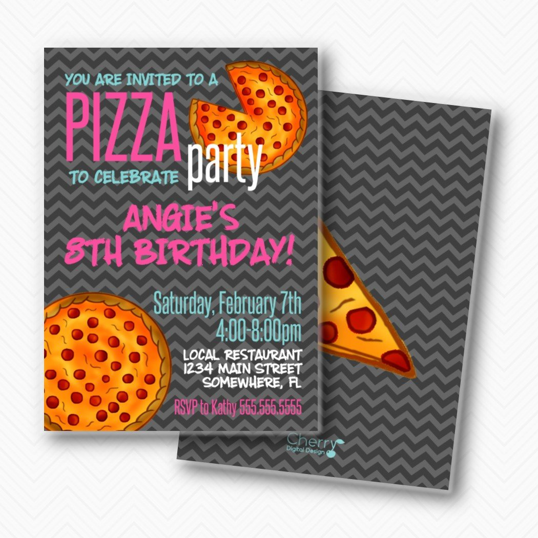 Portland Mall Girl Birthday Pizza Party Invitations Included Factory outlet Envelopes