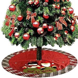 GSYYSZD Sapin de Noël Jupe, Décoration de Noël Père Noël Bonhomme de Neige d'arbre Tapis de Base Couverture Linen Holiday Party Décor Maison Décoration (120cm)