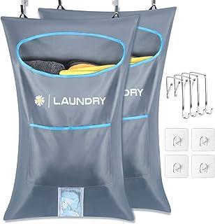 Lemecima 2 bolsas para cesto de ropa para colgar en la puerta, recolector de ropa con ganchos para puerta de acero inoxida...