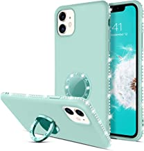 GUAGUA iPhone 11 Case Silicone with Finger Ring Holder Kickstand Cute Glitter Sparkle Bling Diamond Rhinestone Soft Cover ...