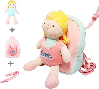 i COUCOU Cute Toddler Backpack, 3-in-1 with Detachable Doll and Safety Harness, Mini Plush Travel Bag, Lunch box, Animal D...