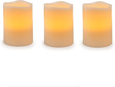 """Darice Battery Operated LED Pillar Candle Set, 6"""" (Pack of 3), Ivory/Cream, 3 Piece"""