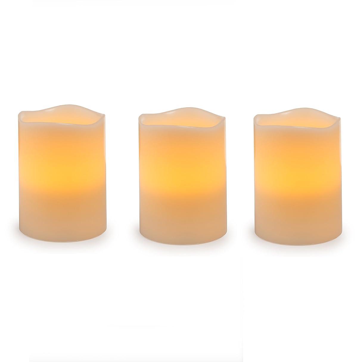 家危機謙虚Darice電池式LED Pillar Candleセット、3ピース