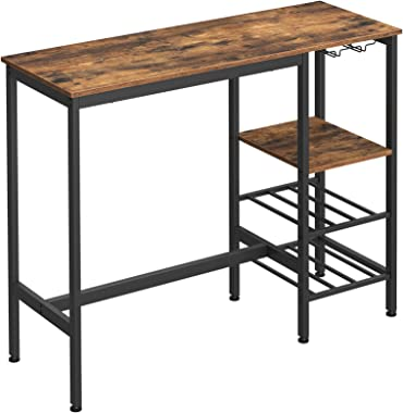 VASAGLE Bar Table, High Dining Table, Pub Table with Wine Glass Holder and Bottle Rack, for Living Room, Kitchen, Industrial,