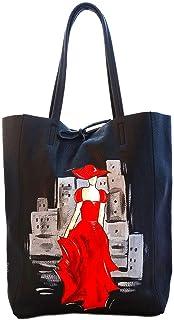 Borsa in pelle dipinta a mano – LADY IN RED - Borse Donna, Borse a Spalla, Vera Pelle, Made in Italy, in Pelle Dipinta, Sh...
