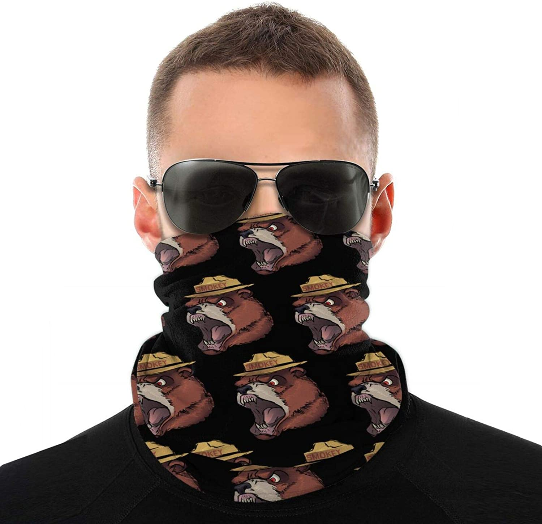 Men Women Angry Smokey Bear Neck Gaiter Face Mask Reusable, Cloth Face Masks Washable Bandana Face Mask, Sun Dust Protection Cover Balaclava Scarf Shield