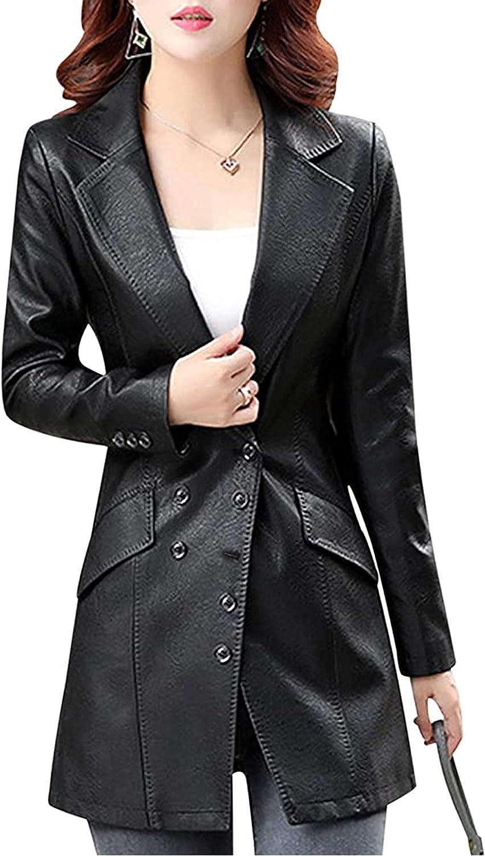 Tanming Women's Button Front Faux Leather Blazer Coat Jacket