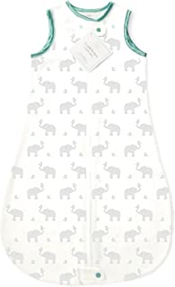 SwaddleDesigns Cotton Sleeping Sack with 2-Way Zipper, Made in The USA, Premium Cotton Flannel, Elephant and Pastel SeaCrystal Chickies, 0-6MO