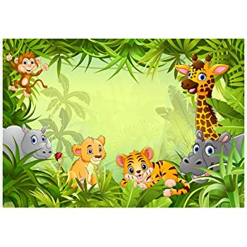 Haoyiyi 10x8ft Birthday Backdrop Props Photo Background Wild Wildlife One Cartoon Fauna Jungle Animals Ballons Black Photography Girl Boy Adult Birthday Party Photo Booth Props Wallpaper