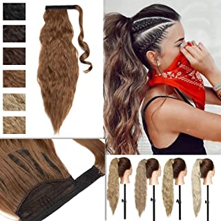 Corn Wave Wrap Around Ponytail Synthetic Hair Extensions Magic Paste Clip in on Wavy Pony Tail with Little Pocket for Women 20 Inch Golden Brown