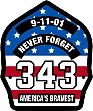 Firefighter 911 Never Forget 343 USA Flag look Decal Vinyl Sticker 6