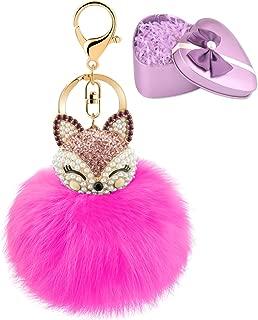 Fluffy Fur Ball Keychain With Gift Box Fox Head Pom Pom Keyring GJ020