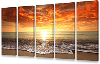S0158 Canvas Prints Wall Art Sunset Ocean Beach Pictures Photo Paintings for Living Room Bedroom Home Decorations Modern S...