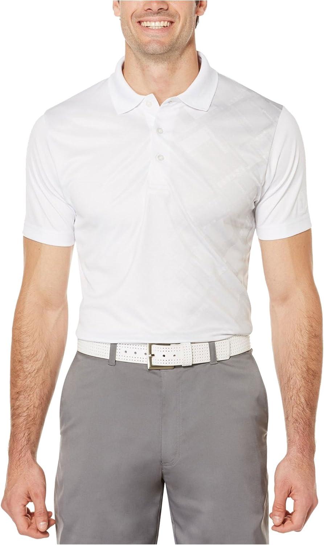 PGA TOUR Mens Tech Tile Rugby Polo Shirt, White, Small