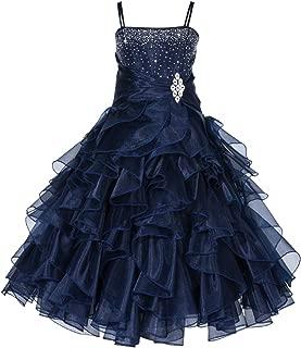 Rhinestones Organza Layers Junior Flower Girl Dresses Christening Dress 164S