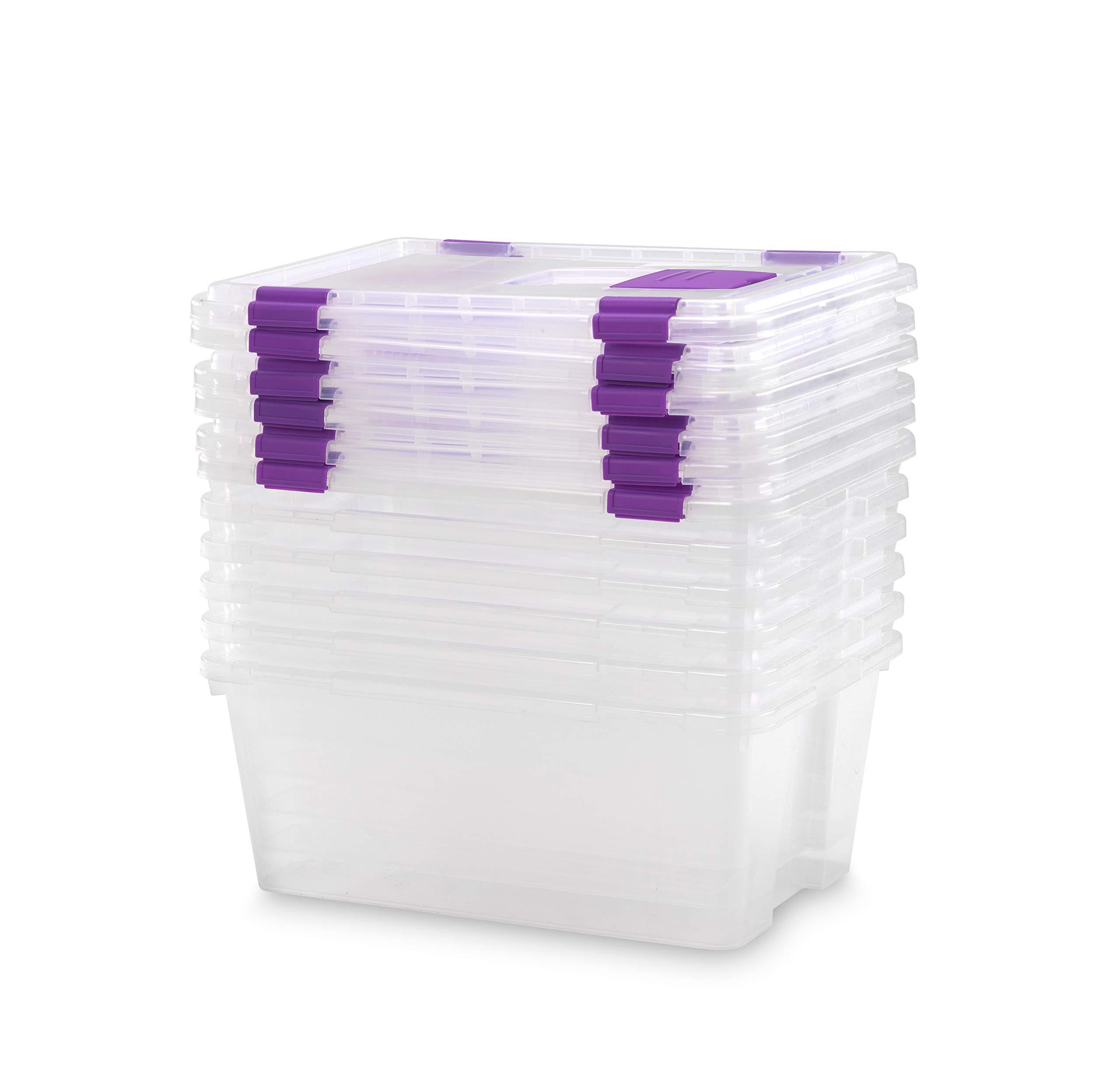 TODO HOGAR - Caja Plástico Almacenaje Transparente - Medidas 470 x 320 x 195 mm - Capacidad de 20 litros (6): Amazon.es: Hogar