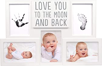 Pearhead Love You to The Moon & Back Babyprints Photo Collage Frame, Baby Shower, Baby Gifts, White