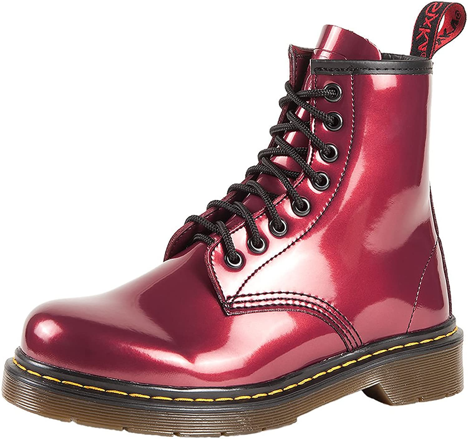 SK7 Women's Hot Stylish Coventry Gloss Leather Fashion Ankle Boots Tinto Red - 9.5
