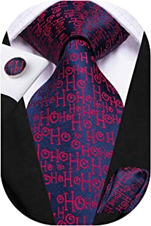 Hi-Tie Mens Silk Necktie and Pocket Square Cufflinks Set