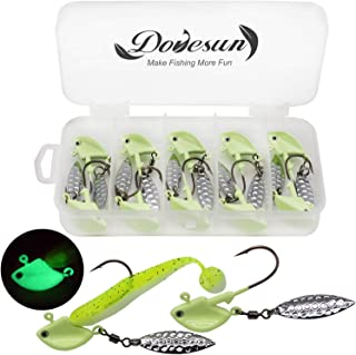 Dovesun Fishing Jig Heads Underspin Jig Heads with Willow Blade Green/Colorful/Red 1/8oz 1/4oz 3/8oz 1/2oz 10pcs