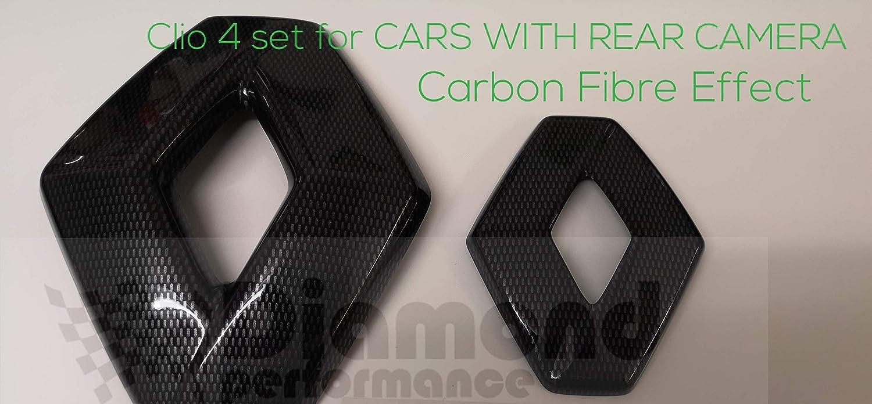 Facelift Carbono Efecto Insignia Cubiertas Delantero y Trasero para Coches con C/ámara Trasera 2012-2019 - Carbono Efecto Diamond Performance Renault Clio 4 RS