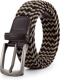 حزام مجدول مرن منسوج للرجال - أحزمة قماشية كاجوال قابلة للتمدد من سبيكة الزنك إبزيم (115 سم، بني/كاكي فاتح)