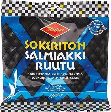 2 bolsas de 3.17oz de Halva Sokeriton Salmiakkiruutu, original, finlandés, libre de azúcar, salty licorice, salmiak, vino, candies, dulces