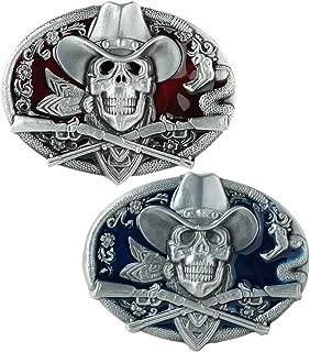Baosity 2Pcs Retro Halloween Gothic Style Skull Skeleton Belt Buckle Men Punk Cowboy