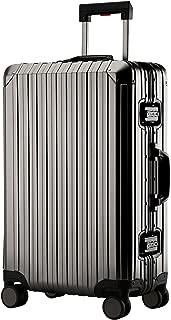 Aluminum-magnesium alloy hard shell luggage suitcase (Dark gray, 25 inch)