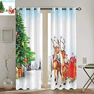 ZLMQWANXX Santa Christmas Insulated Curtains for Windows Snow Covered Christmas Village with Cartoon Santa on His Sleigh Big Tree and Boxes for Living Room W84 x L106 Inch Multicolor