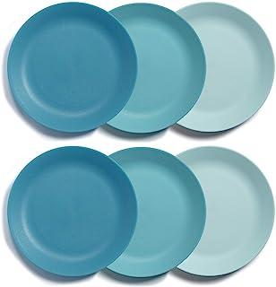 Everest Ultra-Durable Plastic 10-inch Dinner Plate | set of 6 Coastal Blue Gradient