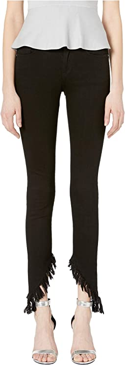 Ripped Hem Jeans in Black