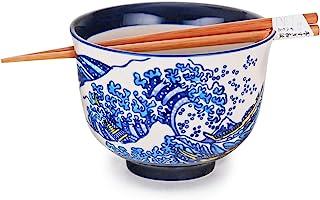 Hinomaru Collection Quality Japanese Ramen Udon Noodle Donbury Bowl with Chopsticks Bowl Set 5 Inch Diameter (Kanagawa Wave)