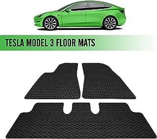 Seven Sparta Floor Mats All-Weather Interior Set for 2017-2019 Tesla Model 3 Rubber Environmental Waterproof Heat & Cold Resistant Protection Mats Black - 2 Front Seats, 1 Rear Seat Floor Mats