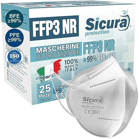 25 Mascherine FFP3 Certificate CE italia Made in Italy BFE ≥99% | PFE ≥99% Mascherina ffp3 SANIFICATA e sigillata singolarmente. Certificata ISO Medical Produzione 100% italiane