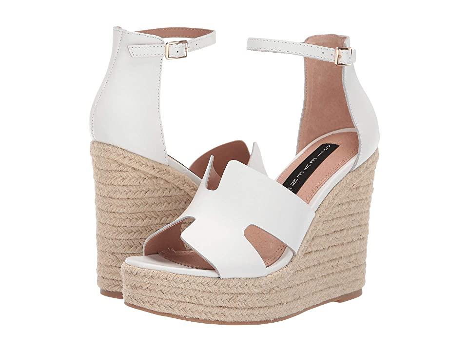 Steven Sirena (White Leather) Women's Wedge Shoes