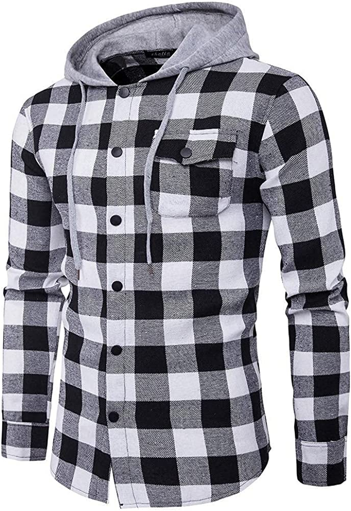 Men's Hoodies Long Sleeve Shirt Lightweight Casual Plaid Shirts Pullover Top Hooded Blouse with Drawstring