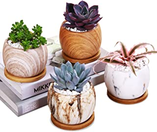Marbling Ceramic Succulent Flower Pot Home Decoration Vase Succulent Plant Pot Cactus Plant Pot Flower Pot Container with Bamboo Tray 4 in Set (Round)