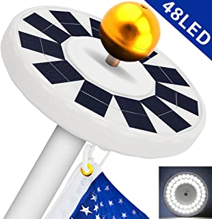 Solar Flag Pole Light, Flagpole Solar Light 800Lux- Hallomall 48LED Downlight Lighting for 15 to 25 Ft Flag Pole Topper, 3 Modes, Auto On/Off Night Light {Upgraded Version }