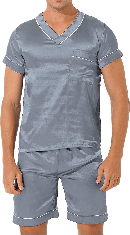 CHICTRY Mens Pajamas Set Loungewear Satin Silky Sleepwear V Neck Short Sleeve Tops and Shorts PJS Set