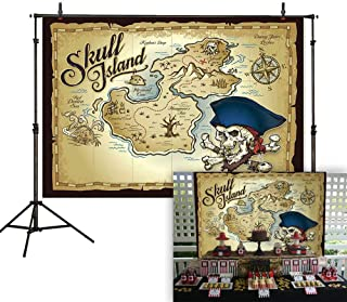 Allenjoy 7x5ft Pirate Skull Island Treasure Map Backdrop for Photography Pictures Vintage Sea Adventure Background Children Birthday Baby Shower Party Decoration Photo Booth Cake Table Banner