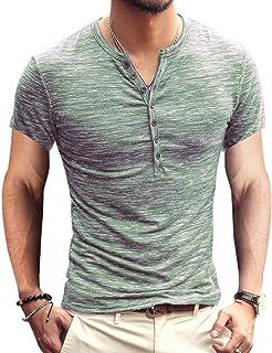 Men's Soild Henley Short Sleeve Tops Buttons Front Casual T Shirts Tee